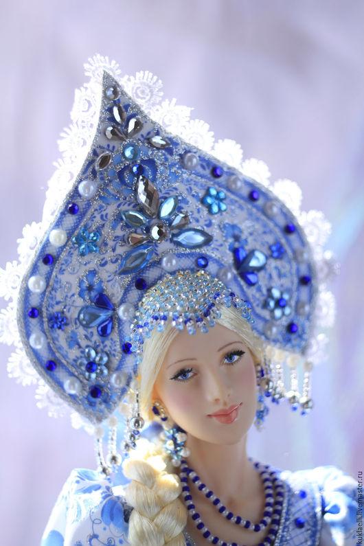 Коллекционные куклы ручной работы. Ярмарка Мастеров - ручная работа. Купить Кукла Аленушка (гжель). Handmade. Синий, аленушка, бисер