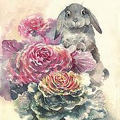 Картины ручной работы. Ярмарка Мастеров - ручная работа Картина акварелью с зайцем Зайкины прятки. Handmade.