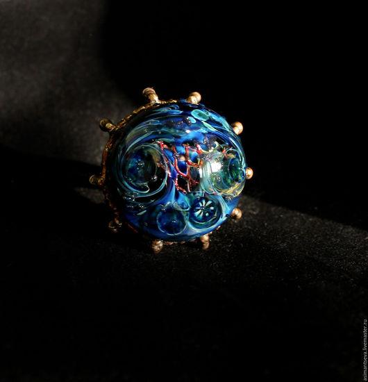 """Кольца ручной работы. Ярмарка Мастеров - ручная работа. Купить Кольцо лэмпворк """"Нептун"""". Handmade. Тёмно-синий, море"""