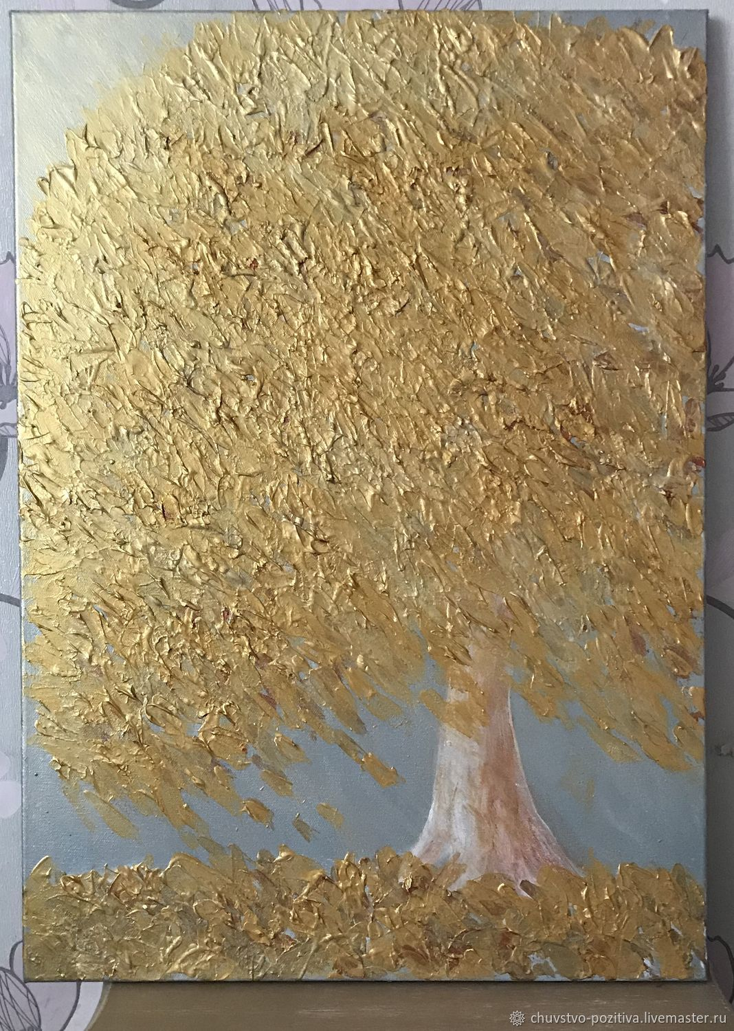 Painting of a Golden tree abstract Golden 'Golden time' 70h50, Pictures, Volgograd,  Фото №1