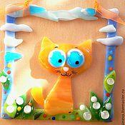 Картины и панно ручной работы. Ярмарка Мастеров - ручная работа Панно Глазастый кот в ландышах. Handmade.