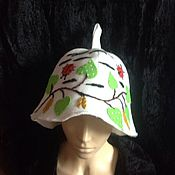 Для дома и интерьера ручной работы. Ярмарка Мастеров - ручная работа Банная шапка Березка. Handmade.