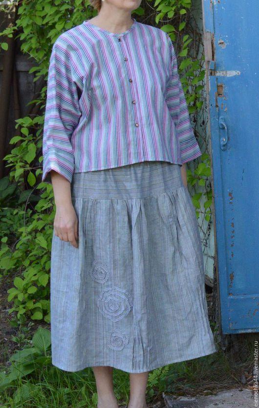 """Юбки ручной работы. Ярмарка Мастеров - ручная работа. Купить Льняная юбка """"Спираль"""". Handmade. Серый, льняная одежда"""