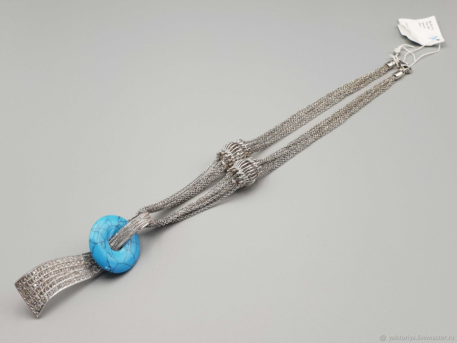 Silver necklace with turquoise and cubic zirconia, Necklace, Moscow,  Фото №1