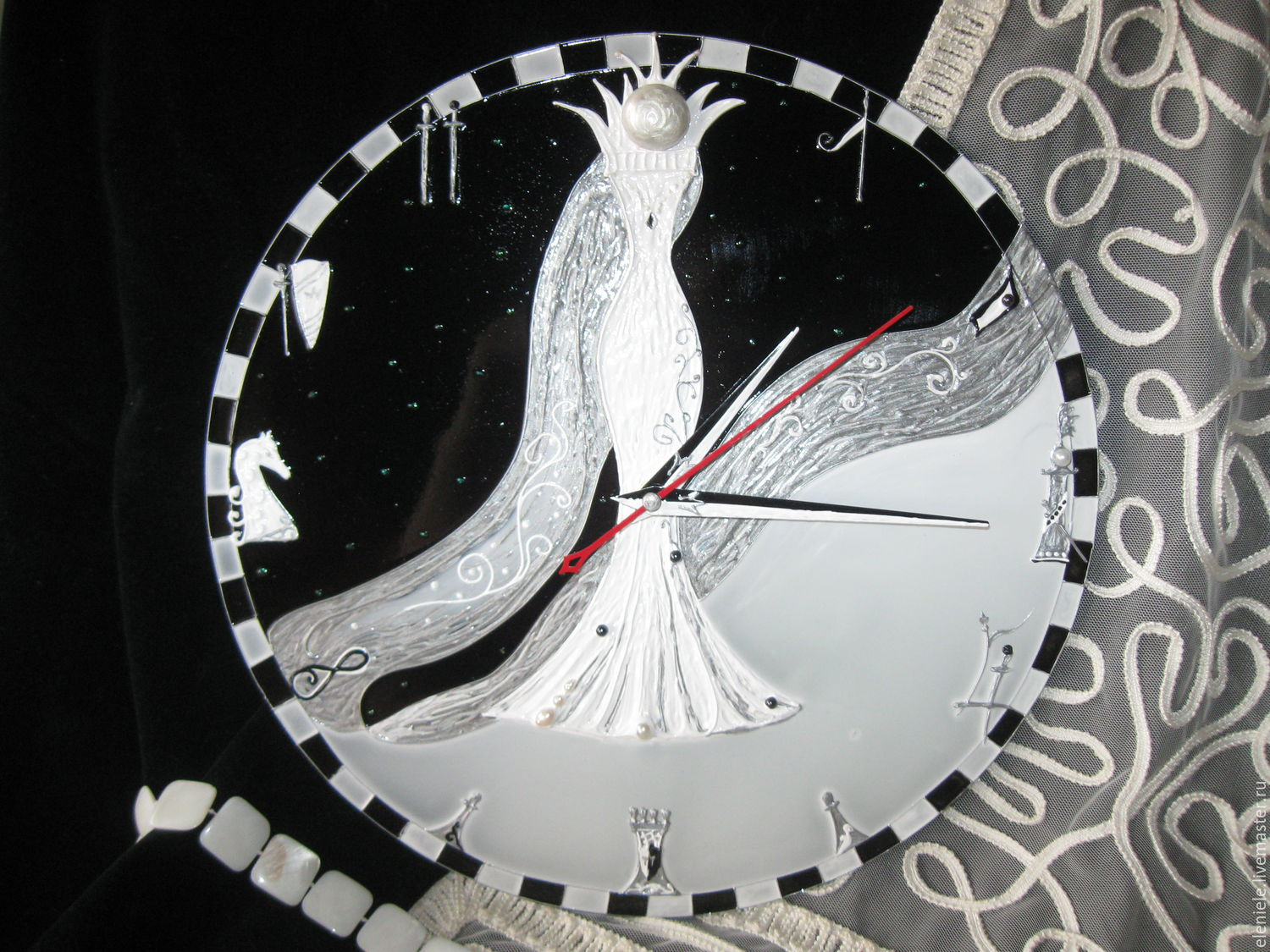 Clock with painting 'Fateful Queen', Watch, Moscow,  Фото №1
