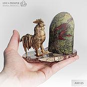 Фен-шуй и эзотерика handmade. Livemaster - original item Bronze Cock with heliotrope on a plate of marble. Handmade.