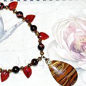 Украшения handmade. Livemaster - original item A necklace of a tiger and bovine eye Spanish passion. Handmade.