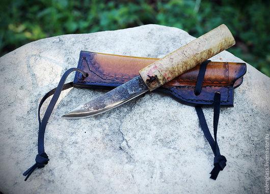 Оружие ручной работы. Ярмарка Мастеров - ручная работа. Купить Нож якутский (на рыбалку). Handmade. Желтый, натуральная кожа