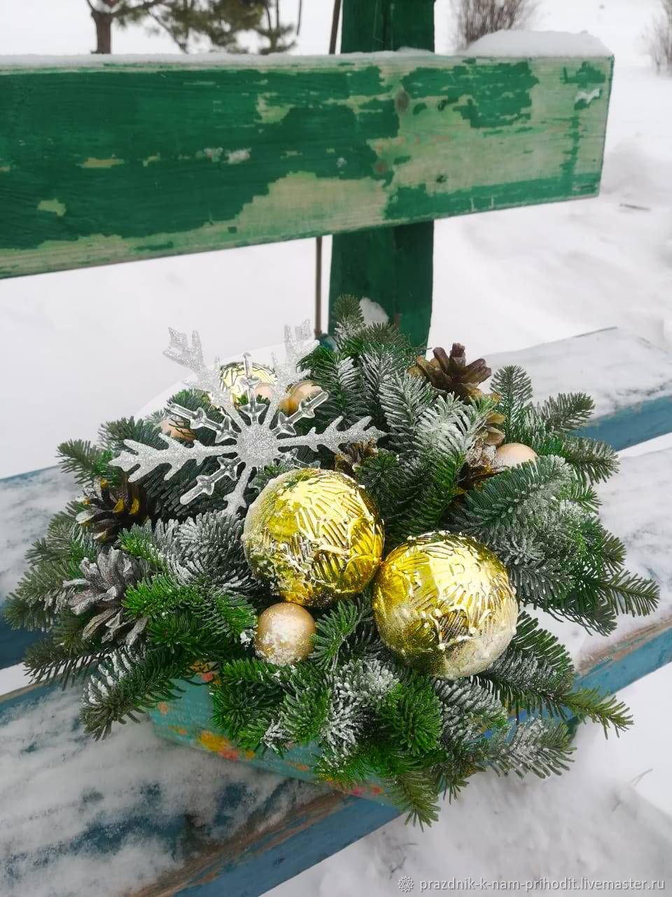 Новогодняя живая композиция в картонной коробке, Композиции, Москва,  Фото №1