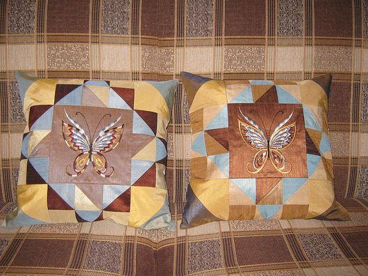 Текстиль, ковры ручной работы. Ярмарка Мастеров - ручная работа. Купить Печворковая бабочка (машинная вышивка). Handmade. Тафта