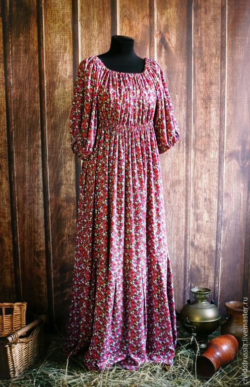 Платья ручной работы. Ярмарка Мастеров - ручная работа. Купить Барышня-крестьянка. Handmade. Разноцветный, цветочный, штапель, платье, штапель