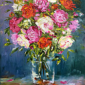 Картины и панно handmade. Livemaster - original item Pictures: Oil painting of Roses in a transparent vase. Handmade.
