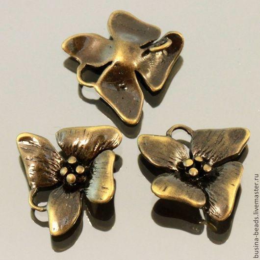 Металлическая подвеска коннектор цветок орхидеи из латуни с покрытием бронза для использования в сборке украшений