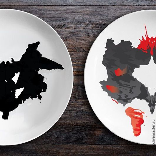 Тарелки ручной работы. Ярмарка Мастеров - ручная работа. Купить Набор керамических тарелок Ужин с Роршахом (Ниндзя/Бабочка). Handmade.