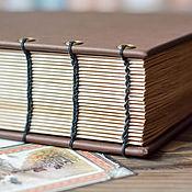 Канцелярские товары ручной работы. Ярмарка Мастеров - ручная работа Блокнот в открытом коптском переплете. Handmade.