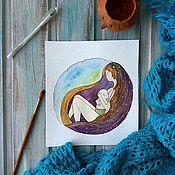 Картины и панно ручной работы. Ярмарка Мастеров - ручная работа Иллюстрация акварель Сон с младенцем. Handmade.