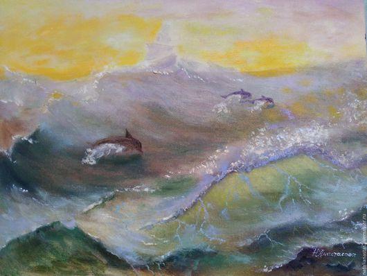 Пейзаж ручной работы. Ярмарка Мастеров - ручная работа. Купить Дельфины в бушующем море. Handmade. Салатовый, морская волна, дельфины