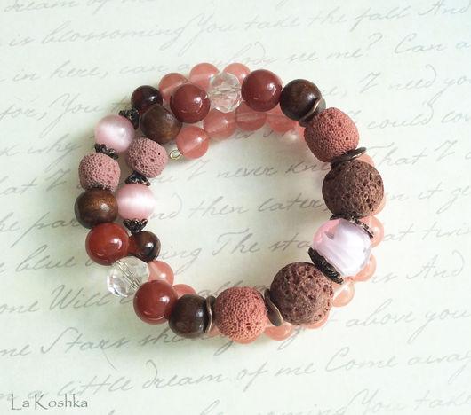 бордовый розовый браслет, браслет бохо бордовый,  браслет в два оборота, многорядный браслет, красный браслет с камнями, розовый браслет в стиле бохо, браслет лава агат, стильный браслет, бохо украшен