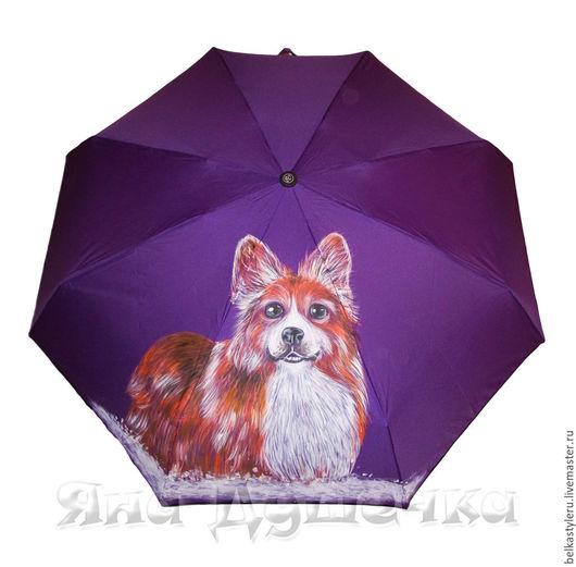 """Зонты ручной работы. Ярмарка Мастеров - ручная работа. Купить Зонт с росписью """"Вельш-корги"""" на заказ  по фото  вашего любимца. Handmade."""