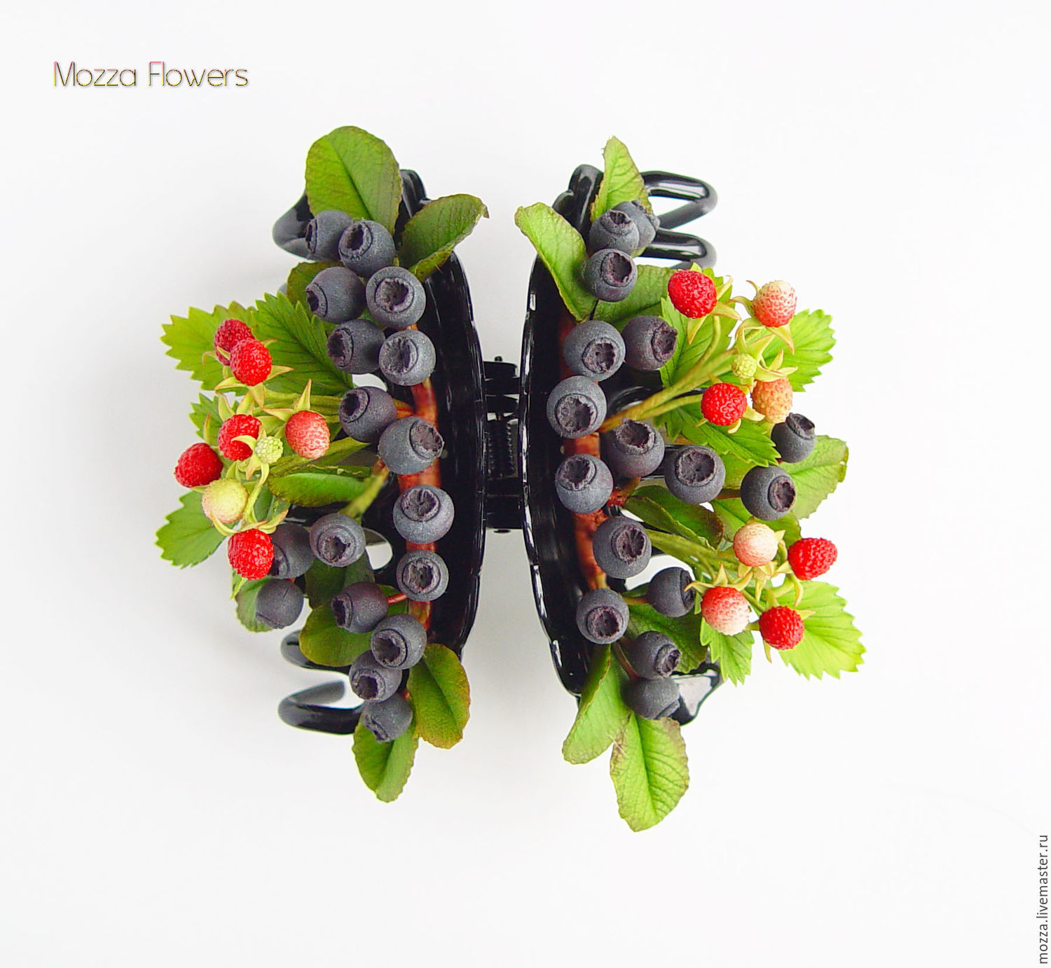 Hairpin - crab with blueberries and strawberries from polymer clay, Hairpins, Zarechny,  Фото №1