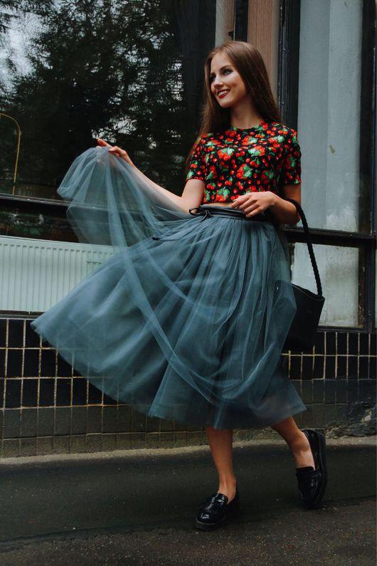 Юбки ручной работы. Ярмарка Мастеров - ручная работа. Купить Серая фатиновая юбка. Handmade. Шелк-фатин, фатиновая юбка