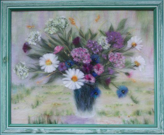Картина `Полевых цветов букет. Картина из шерсти`