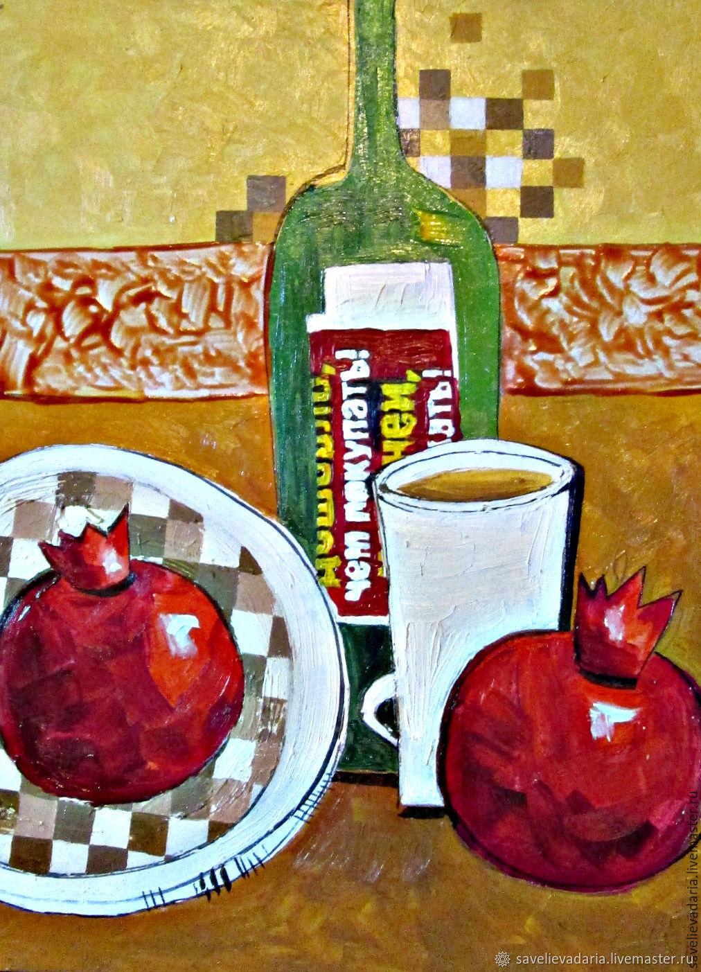 """Картина маслом """"""""Кофе, гранаты, вино"""", Натюрморт, Москва, Фото №1"""