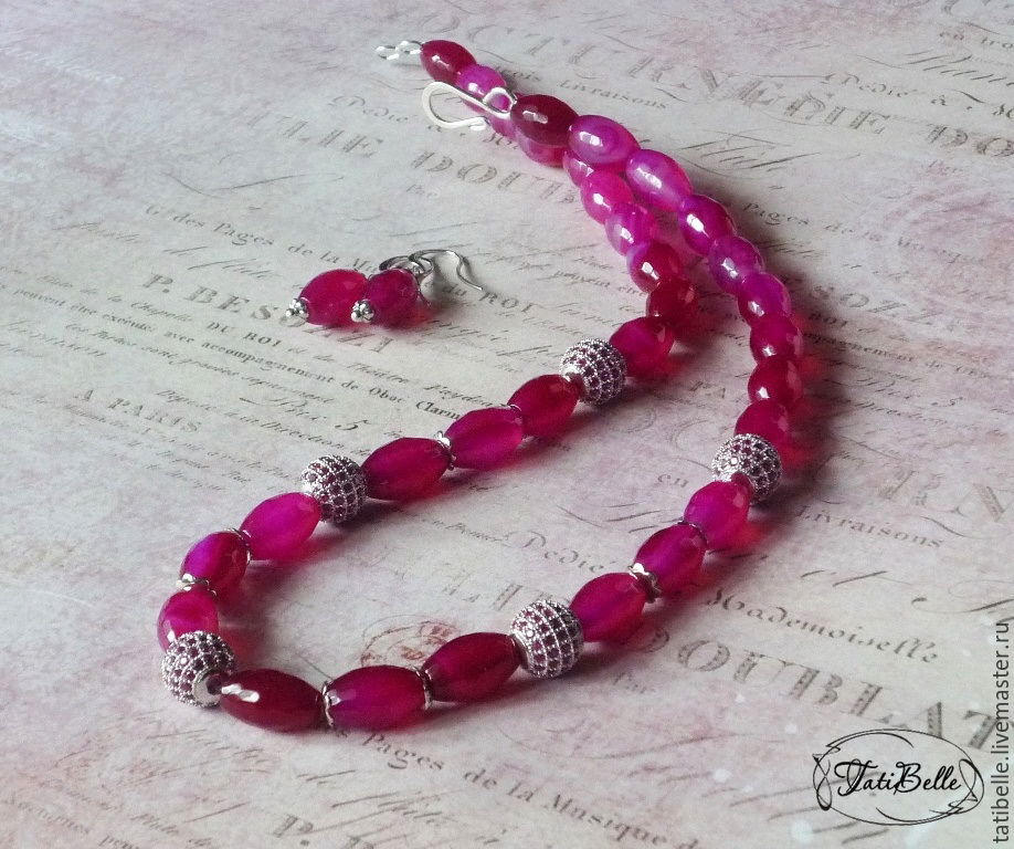Necklace 'Fuchsia' with agate and cubic Zirconia, Necklace, Moscow,  Фото №1