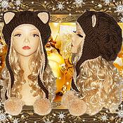 Аксессуары ручной работы. Ярмарка Мастеров - ручная работа Шапка кошка с ушками Кошка, белая, вязаная женская. Handmade.