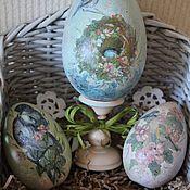 """Подарки к праздникам ручной работы. Ярмарка Мастеров - ручная работа """"Пташки"""" - Пасхальное- интерьерное яйцо. Handmade."""