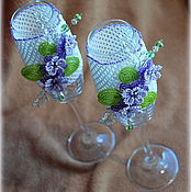 """Свадебный салон ручной работы. Ярмарка Мастеров - ручная работа Свадебные бокалы """"Сиреневые сны"""". Handmade."""