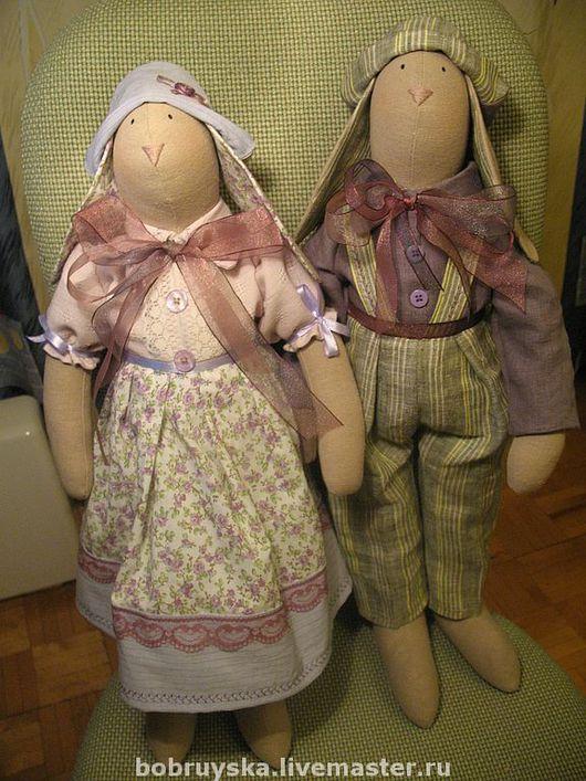 Куклы Тильды ручной работы. Ярмарка Мастеров - ручная работа. Купить пара кроликов для Оксаны. Handmade. Кролик, тильда заяц