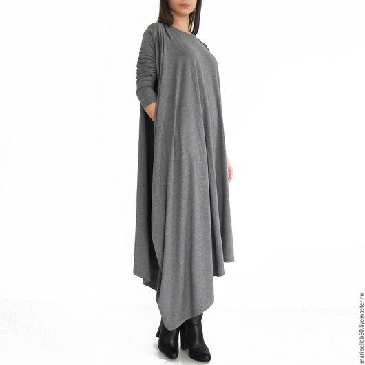Платья ручной работы. Ярмарка Мастеров - ручная работа. Купить EMBRACE асимметричная туника платье. Handmade. Темно-серый