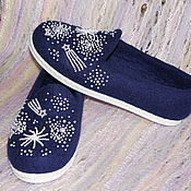 """Обувь ручной работы. Ярмарка Мастеров - ручная работа Слипоны валяные """"Тайны Вселенной"""". Handmade."""