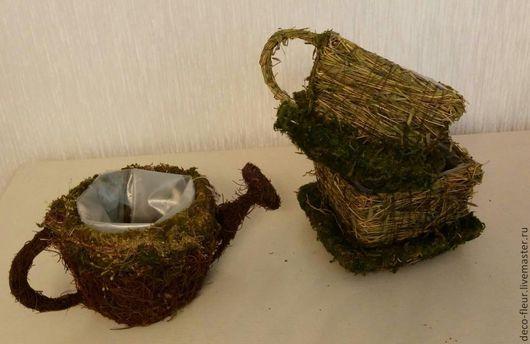 Материалы для флористики ручной работы. Ярмарка Мастеров - ручная работа. Купить Кашпо плетёное. Handmade. Зеленый, мох, трава, мох