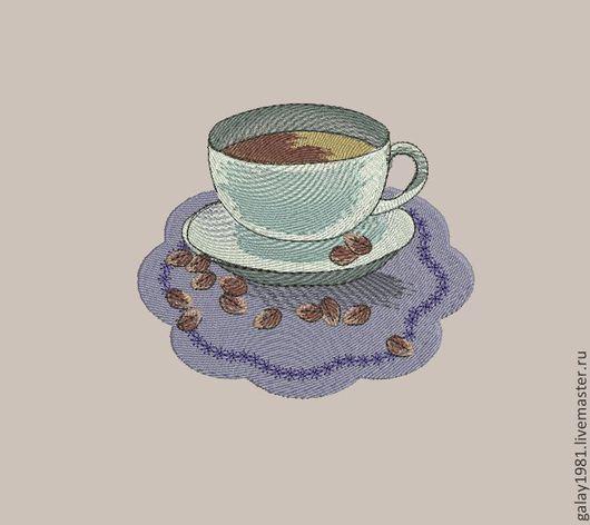 """Вышивка ручной работы. Ярмарка Мастеров - ручная работа. Купить Дизайн машинной вышивки. """"Чашка кофе"""".. Handmade."""