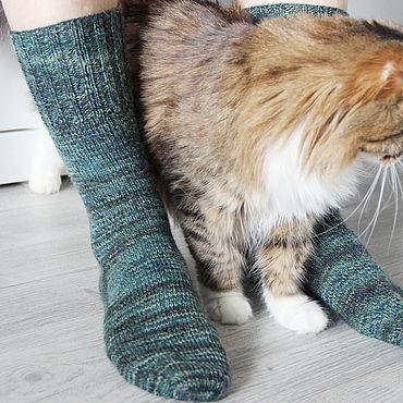 """Аксессуары ручной работы. Ярмарка Мастеров - ручная работа Высокие вязаные носки """"Кукушкин лен"""" размер 38-40. Handmade."""