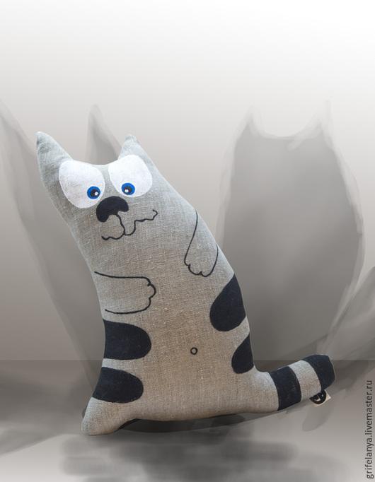 """Игрушки животные, ручной работы. Ярмарка Мастеров - ручная работа. Купить мягкая игрушка-подушка """" Кот Мыслитель"""". Handmade."""