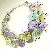Украшения handmade. Livemaster - original item Waltz Of The Lilac Sun. Necklace made of natural stones, fabric flowers. Handmade.