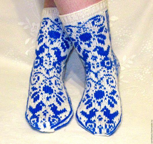 """Носки, Чулки ручной работы. Ярмарка Мастеров - ручная работа. Купить носки женские """"Синие птички"""" в подарок на 8 марта. Handmade."""
