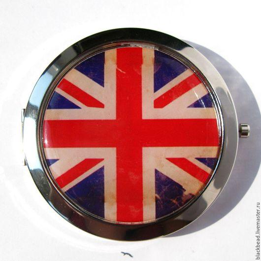 """Зеркала ручной работы. Ярмарка Мастеров - ручная работа. Купить Зеркальце карманное """"Британия"""". Handmade. Комбинированный, синий, Британский флаг"""
