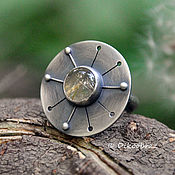 Украшения handmade. Livemaster - original item Dandelion ring (925 silver, rutile quartz). Handmade.