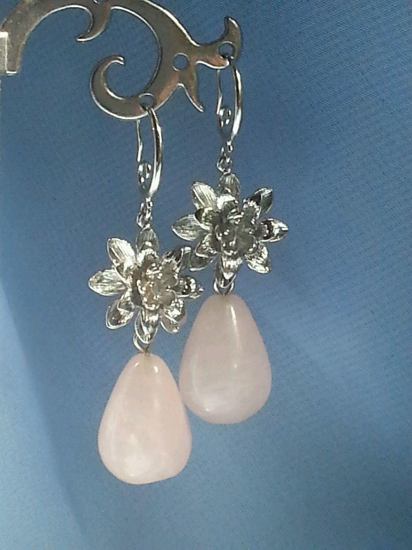 Earrings teardrop pink quartz, Earrings, Moscow,  Фото №1