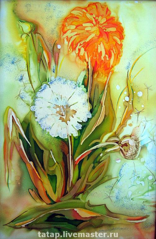 Картины цветов ручной работы. Ярмарка Мастеров - ручная работа. Купить Одуванчики 2. Handmade. Батик, одуванчики, весна, голубой