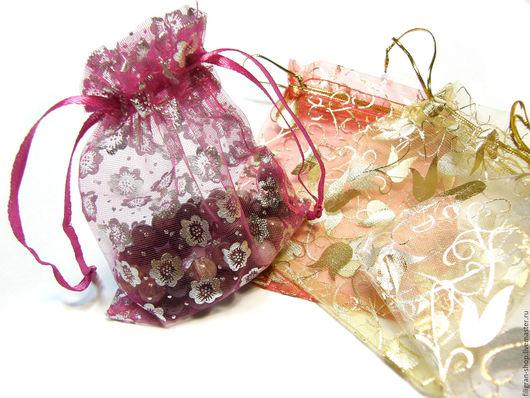 """Упаковка ручной работы. Ярмарка Мастеров - ручная работа. Купить Мешочки из органзы """"Цветы"""" 12х9 см, в ассортименте. Handmade. Комбинированный"""