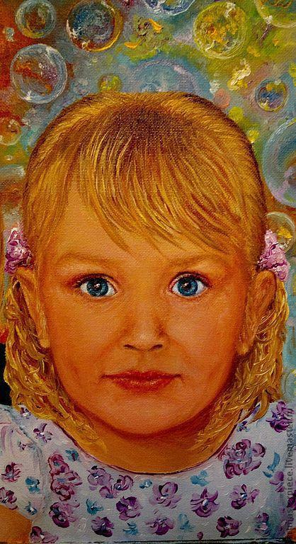 Люди, ручной работы. Ярмарка Мастеров - ручная работа. Купить Портрет семьи. Праздник для Настеньки. Холст, масло.. Handmade. Живопись