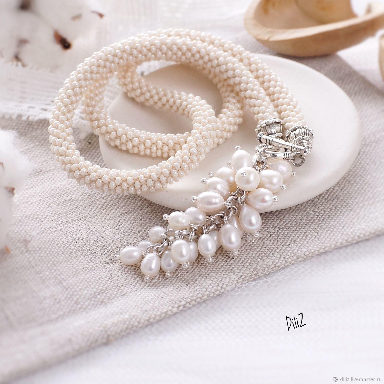 Pendant Bunch of white pearls beaded harness, Pendants, Kazan,  Фото №1