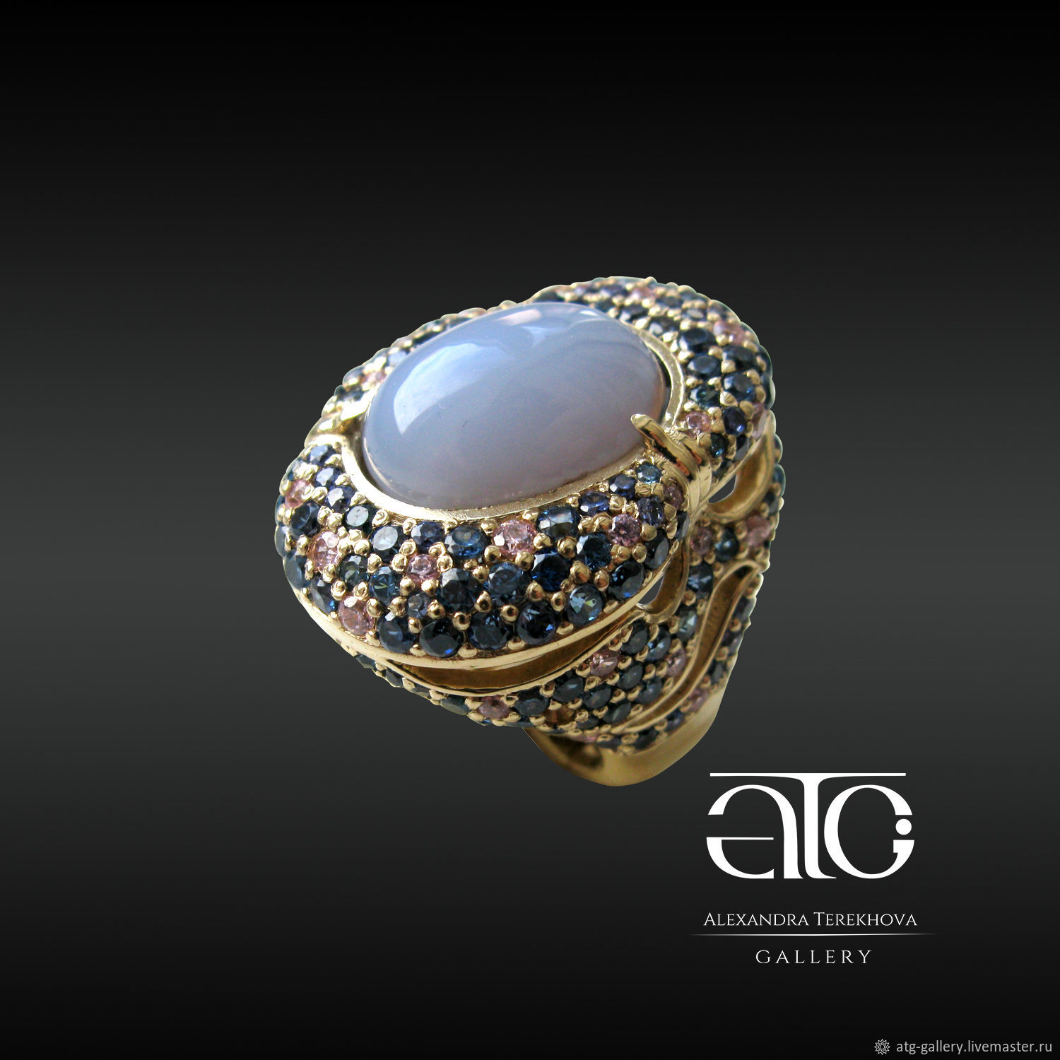 Made to order! Exclusive! Luxury status ring with natural blue, grey, pink sapphires and lavender chalcedony!