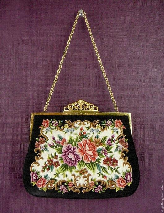 Винтажные сумки и кошельки. Ярмарка Мастеров - ручная работа. Купить Винтажная сумочка с вышивкой Petit Point. Handmade. Винтажная сумка
