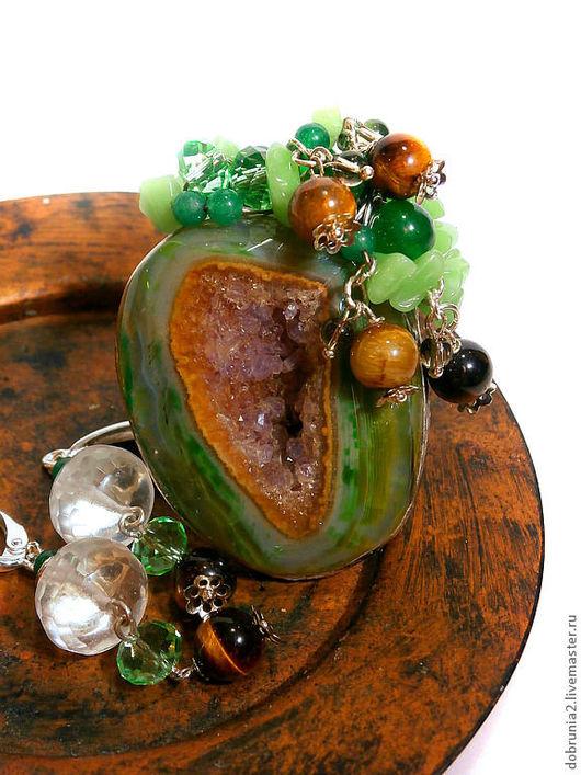 """Кольца ручной работы. Ярмарка Мастеров - ручная работа. Купить Кольцо """" Утренний лес"""". Handmade. Зеленый, тигровый глаз"""